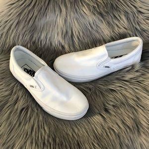 Vans White Slip on Sneakers Size 7.5